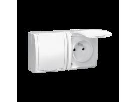 Zásuvka dvojitá s uzemnením krytie IP54 - krycia klapka bielej farby biela 16A