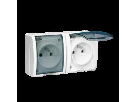 Zásuvka dvojitá s uzemnením krytie IP54 - krycia klapka v transparentnej farbe biela 16A