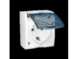 Jedno zásuvka s uzemnením typu Schuko - krytie IP54 - s krycou klapkou v transparentnej farbe biela 16A
