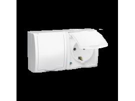 Zásuvka dvojitá s uzemnením typu Schuko-krytie IP54  - s krycou klapkou v bielej farbe biela 16A