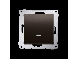 Jedno tlačidlo spínacie bez piktogramu s orientačným podsvietením LED, radenie č. 1/0 (prístroj s krytom) 10AX 250V, pružinové svorky, hnedá matná