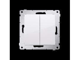 Tlačidlo dvojité spínacie, radenie č. 1/0+1/0 (prístroj s krytom) 10AX 250V, pružinové svorky, biela