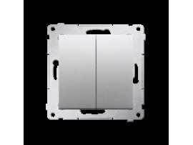 Tlačidlo dvojité spínacie, radenie č. 1/0+1/0 (prístroj s krytom) 10AX 250V, pružinové svorky, strieborná matná