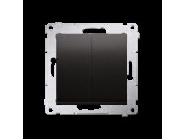 Tlačidlo dvojité spínacie, radenie č. 1/0+1/0 (prístroj s krytom) 10AX 250V, pružinové svorky, antracitová