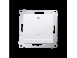 Dvojitý hotelový spínač s orientačným podsvietením (prístroj s krytom) 10A (2A) 230V, zásuvka pre hnetenie (kliešťová svorka), biela