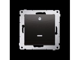Dvojitý hotelový spínač s orientačným podsvietením (prístroj s krytom) 10A (2A) 230V, zásuvka pre hnetenie (kliešťová svorka), antracitová