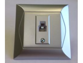 Alpina telefonna zásuvka 1xRJ11 strieborná